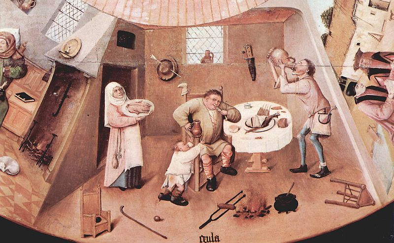 Portion depicting Gluttony in Hieronymus Bosch's 'The Seven Deadly Sins and the Four Last Things' - wiki