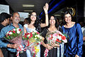 Himangini Singh Yadu with Sushmita Sen returns after winning Miss Asia Pacific World 2012 02.jpg