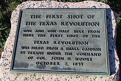 Photo of John Henry Moore and First Shot of the Texas Revolution black plaque