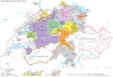 Territoriale und politische Situation der Schweiz (Alte Eidgenossenschaft) nach der Schlacht bei Marignano um 1515 (Quelle: Wikimedia)