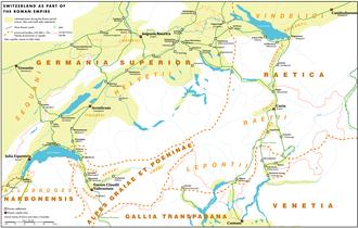 Aventicum - Switzerland during the Roman era, showing Aventicum and the Helvetii region