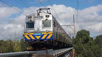 Hitachi (Australian train) - A Metro Trains refurbished Hitachi crosses Merri Creek