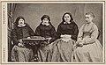 Hosgående fotografikort, taget år 1871. Åbon Måns Trulssons i Vinslöf med dotter, hustru, svärmor, svärmorsmor - Nordiska Museet - NMA.0042839.jpg