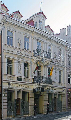 Flag of Lithuania - Flags hoisted on the House of the Signatories on February 16, 2007.