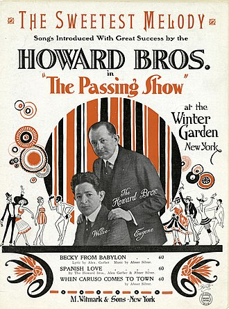 """Howard Brothers - The Howard Brothers on the cover of sheet music for the song """"The Sweetest Melody"""" by Abner Silver, from The Passing Show of 1921"""