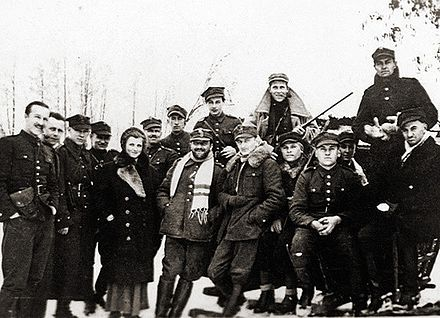 The first partisan of World War II Hubal and his unit in Poland in winter 1939 Hubal-with-soldiers.jpg