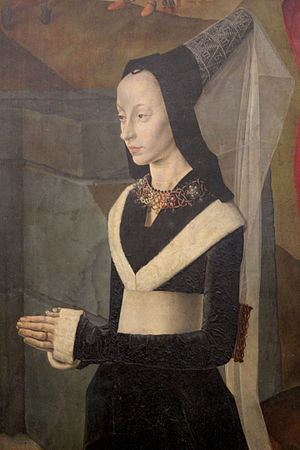 Portrait of Maria Portinari - Detail from Hugo van der Goes's c. 1475 Portinari Altarpiece, Uffizi, Florence