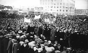 Hunger marches - A Canadian hunger march from 1932 that took place in Alberta.