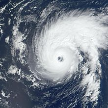 Satellite imagery of a well-formed hurricane with a large eye