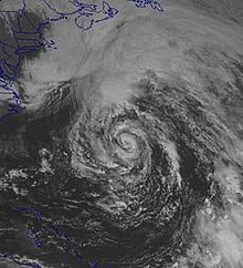 Satellite image of a relatively broad cyclone.