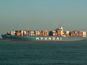 Hyundai Freedom - IMO 9112260 - , leaving Port of Rotterdam, Holland 14-Jan-2006.jpg