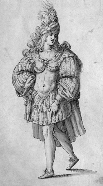 "Masque - Costume for a Knight, by Inigo Jones: the plumed helmet, the ""heroic torso"" in armour and other conventions were still employed for opera seria in the 18th century."