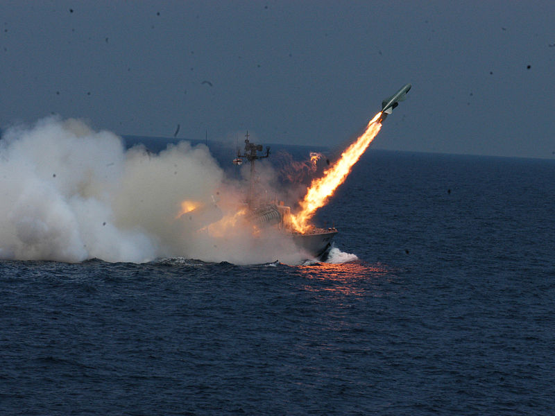 File:INS Chamak (K95) fires a P-15 Termit missile.jpg