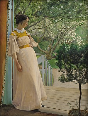 L. A. Ring -  In the Garden Doorway, The Artist's Wife (1897), for which Ring received the Bronze medal at the 1900 World's Fair in Paris.