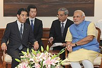 Ichiro Aisawa and Narendra Modi cropped Narendra Modi and Members of the Parliament 20140627.jpg