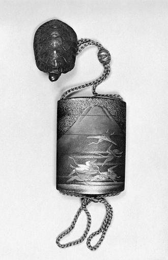 Inrō - Inro with Cranes Soaring by Mount Fuji, and Netsuke of a Turtle. 19th century (Edo; Meiji) The Walters Art Museum.