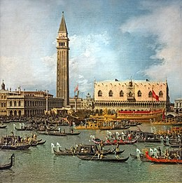 Il Ritorno del Bucintoro al molo nel giorno dell'Ascensione (c.1738) Canaletto - Wells-Next-The-Sea, The Earl of Leicester and Trustees of the Holkham Estate.jpg