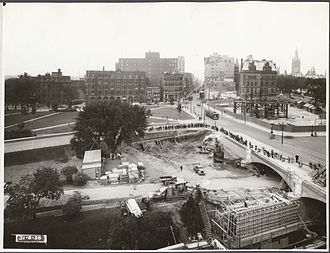National War Memorial (Canada) - Construction of the National War Memorial takes place at far right, 31 August 1938