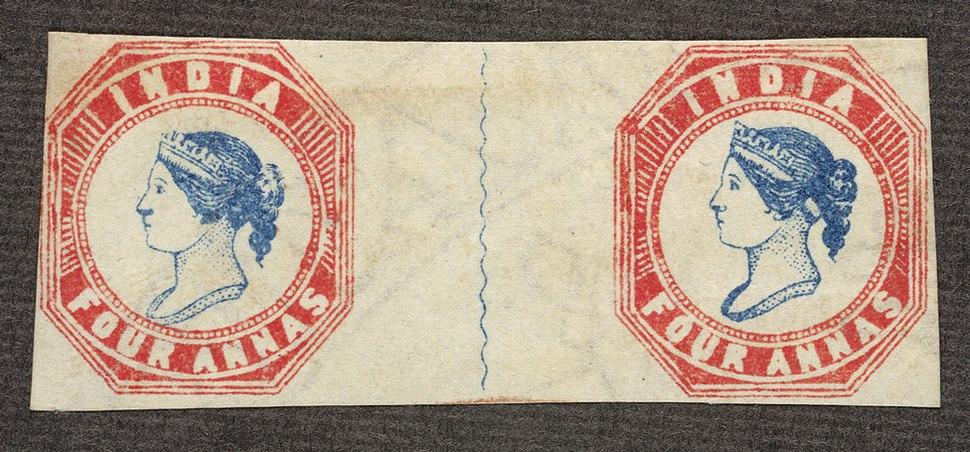 India fouranna blueandred1854