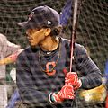 Indians shortstop Francisco Lindor takes batting practice at Wrigley Field. (30526424662).jpg