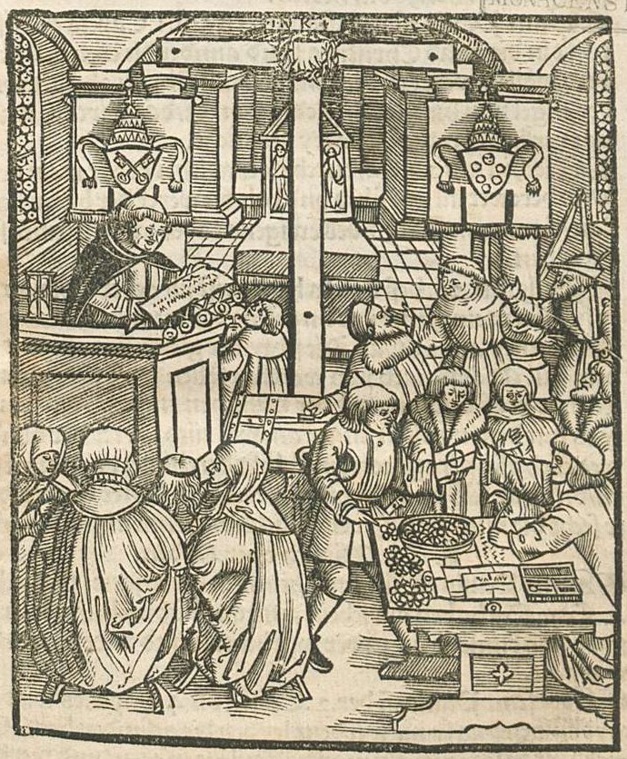 Woodcut illustration of a preacher preaching to listening people while other people exchange money for indulgence certificates. The papal arms are displayed on the walls on either side of a cross.