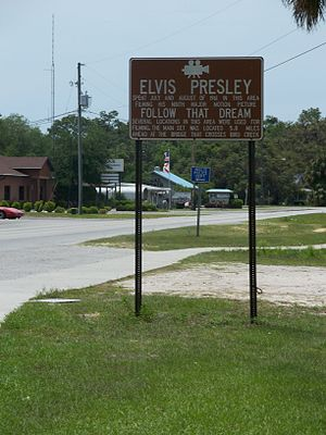 "Florida State Road 40 - Sign along CR 40 memorializing the filming of the 1962 Elvis Presley movie ""Follow That Dream"" along the road in Inglis"