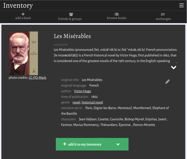 inventaire.io showing Wikidata information about the book Les Misérables