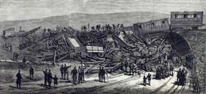 Inverythan rail accident - The Illustrated London News illustration of crash scene