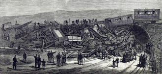 Inverythan rail accident - The Illustrated London News illustration of crash scene