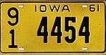 Iowa 1961 license plate - Number 91 4454.jpg