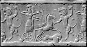 Lion - A cylinder seal from Elam (now Iran) featuring an Elamite adaptation of the Babylonian theme of the lion hunt. 800–600 BC. Underbelly hair is visible. Now at the Walters Art Museum.