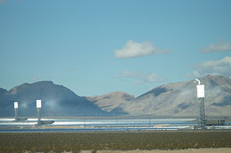 Solar power - Ivanpah Solar Electric Generating System with all three towers under load during February 2014, with the Clark Mountain Range seen in the distance