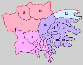Kesen District, Iwate - 1. Sakari; 2. Yonesaki; 3. Ōfunato; 4. Massaki; 5. Otomo; 6. Hirota; 7. Takata; 8. Kesen; 9. Yasaku: 10. Takekoma; 11. Yokota; 12. Setamai; 13. Shimoarisu; 14. Kamiarisu; 15. Hikoroichi; 16. Takkon; 17. Ikawa: 18. Akasaki; 19. Ryōri; 20. Okirai; 21. Yoshihama; 22. Tōni; Purple = Ōfunato City; Orange= Sumita Town; Pink = Rikuzentakata Town; Blue = Kamaishi City