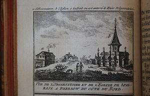 Joseph-Nicolas Delisle - Delisle's observatory in Beryozovo (marked a.), from Continuation de l'histoire générale des voyages, vol. 72 (1768)
