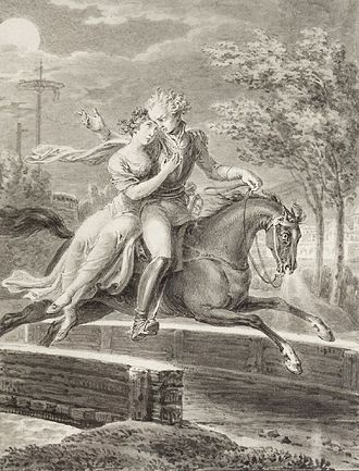 Lenore (ballad) - Lenore and William riding on horseback, as depicted by Johann David Schubert