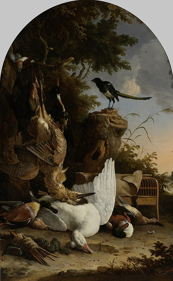 A Hunter's Bag near a Tree Stump with a Magpie, Known as 'The Contemplative Magpie'
