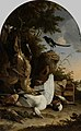 Jachtbuit bij een ekster op een boomstronk, bekend als 'De filosoferende ekster' Rijksmuseum SK-A-170.jpeg