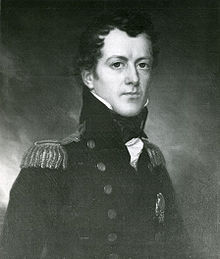 Tableau peint par Joseph Wood représentant e capitaine James Biddle en uniform.