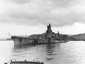 Japanese cruiser Aoba sunk at Kure, Japan, 9 October 1945 (80-G-351754)