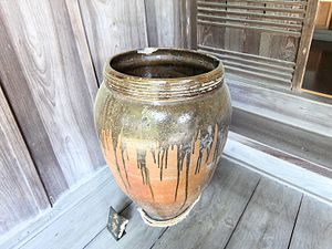 Mashiko ware - Large traditional Mashiko ware jar