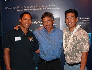 Nainoa Thompson - Nainoa Thompson (center) with actor Jason Scott Lee (left) and artist Layne Luna (right). Photo taken in 2003 at Hilo, Hawai'i.