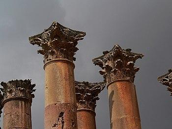 Corinthian columns in Jerash, Jordan