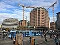 Jernbanetorget, Oslo, Norway - Ruter- trikk 13 mot Grefsen stasjon (Tram Line -13), Clarion Hotel Royal Christiania, Biskop Gunnerus' gate, tower cranes - 2017-10.jpg