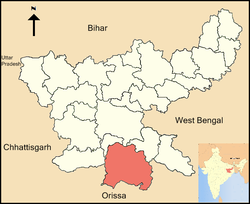 Location of West Singhbhum district in Jharkhand