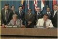 Jimmy Carter and Omar Torrijos signing the Panama Canal Treaty. - NARA - 179905.tif
