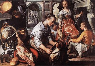 Christ in the House of Martha and Mary (Velázquez) - Joachim Beuckelaer, Christ in the House of Martha and Mary, 1565