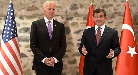 "Biden meeting Turkish Prime Minister Ahmet Davutoglu, December 31, 2014. Biden said that Kurdish PKK is a ""terrorist group"" Joe Biden & Ahmet Davutoglu.jpg"
