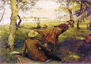 Johan Krouthén -  Siesta with wife Hulda in hammock (1885)