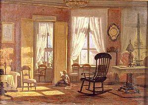 1850 in Sweden - Johan Zacharias Blackstadius, Interiör, salong med läsande flicka, 1850