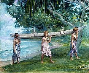 Va'a - John La Farge 1891 painting of girls carrying a vaʻa at Vaiala, Samoa.